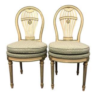 Vintage Mid Century Maison Jansen Louis XVI Montgolfier Balloon Chairs - Pair For Sale