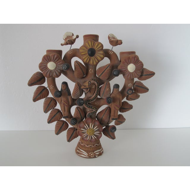 Mexican Folk Art Tree of Life Candleholder - Image 2 of 6