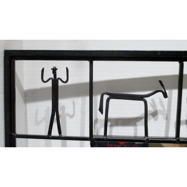 Mid-Century Modern Pair Mirrors 1950's Frederick Weinberg Mid-Century Modern Giacometti Style Wrought Iron For Sale - Image 3 of 9