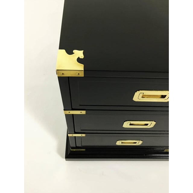 Hekman Furniture Pair of Campaign Style Lacquered Side Tables For Sale - Image 4 of 10