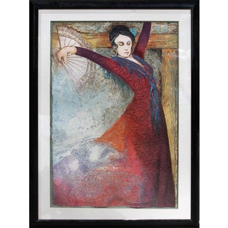 "Large Framed (41""x54"") Intaglio Etching With Metallic Inlays on Handmade Paper, Titled ""Carmen"" by Mikulas Kravjansky For Sale"
