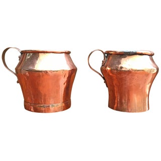 Early 19th Century English Copper Pitchers - a Pair For Sale