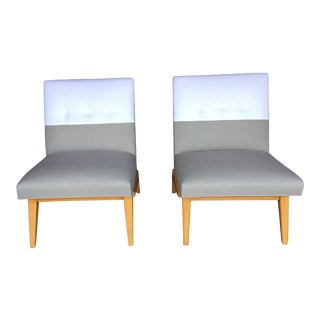 Mid-Century Jens Risom Slipper Chairs for Knoll in Linen - a Pair For Sale