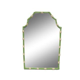 Dana Gibson Bamboo Mirror in Green, Pagoda Style For Sale