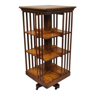 Danner Golden Mission Arts & Crafts Oak 3 Tier Revolving Bookcase Stand For Sale