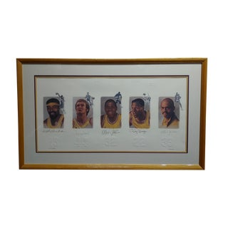 Los Angeles Lakers -Legends-Magic,West,Jabbar,Chamberlain-Signed Lithograph For Sale