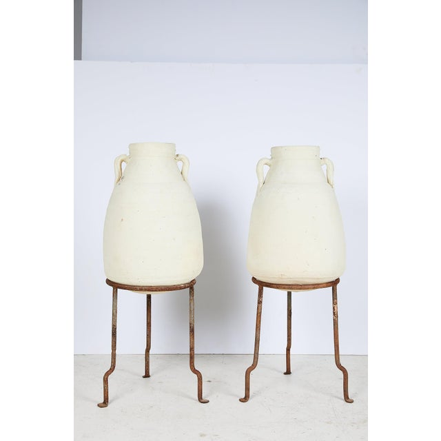 Mediterranean Pair of Vintage Mediterranean White Clay Vessels on Forged Iron Stands For Sale - Image 3 of 12