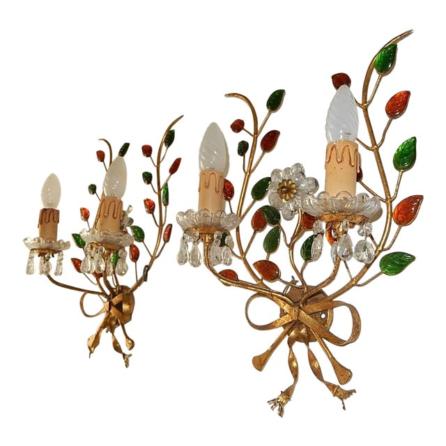 French Maison Bagues Style Colored Floral Beaded Sconces For Sale