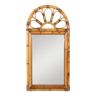 Vintage Bent Rattan Bamboo Sunburst Wall Mirror For Sale