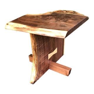 Danish Modern Live Edge Walnut Side Table For Sale