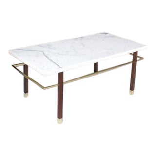 Harvey Probber Marble Top Rectangular Coffee Table w/ Brass Rectangular stretche For Sale