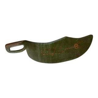 Antique Original Green Painted Flax Tool/Scutching Knife For Sale