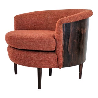 1960s Vintage Rosewood Bentwood Barrel Lounge Chair For Sale