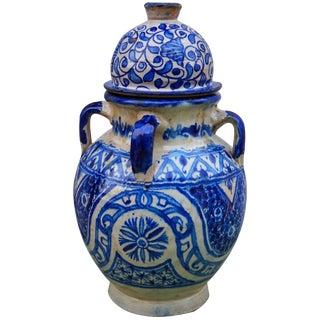 Blue Moorish-Patterned Ceramic Vase For Sale