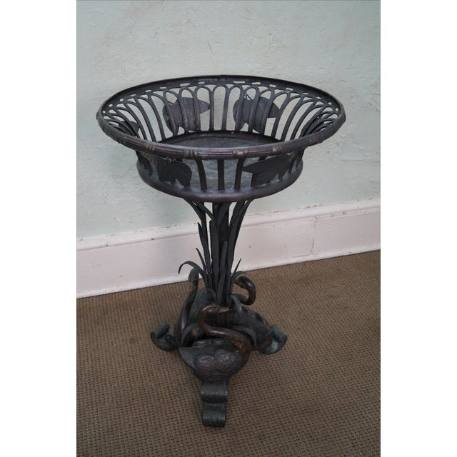 Large Bronze Pedestal Planter W/ Swans (Possibly Maitland Smith) - Image 2 of 10