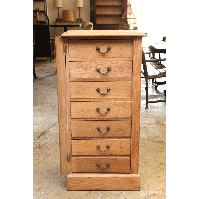 A 19th century Wellington chest in bleached oak.
