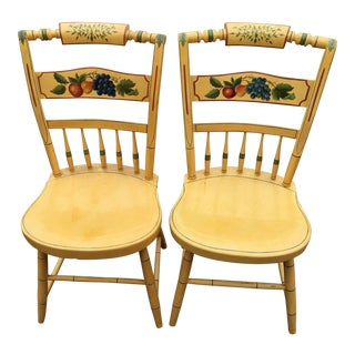 Antique Hitch Cock Style Hand Painted Side Chairs a Pair