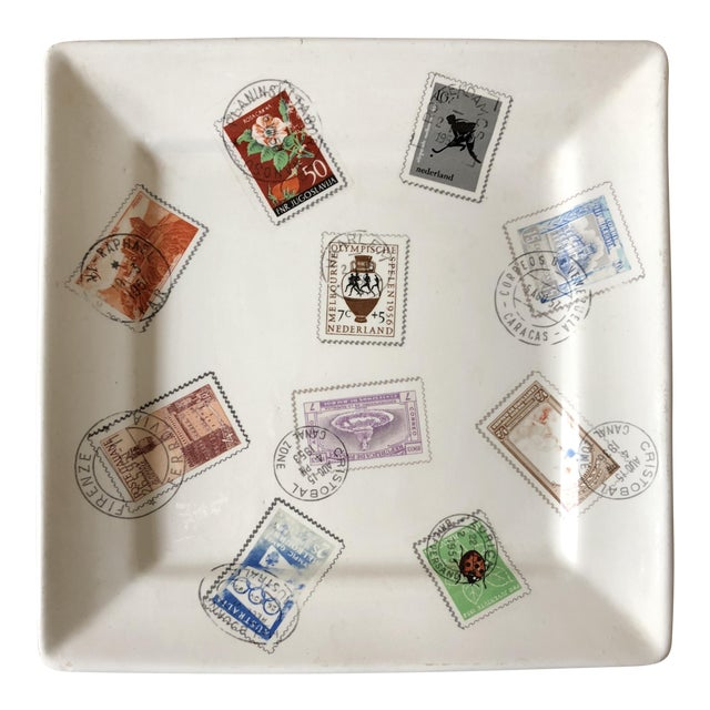 Mid Century Italian Postage Stamp Plate For Sale