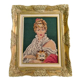 Needlepoint Lady & Cat Framed Tapestry Portrait
