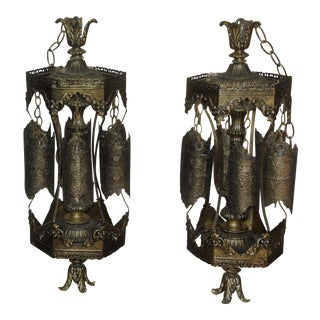 1960s Hollywood Regency Gold Filigree Swag Pendant Lights - a Pair For Sale