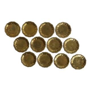 Set of 12 Antique Brass Salt Cellars Disks For Sale
