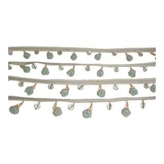 Kravet Couture Beaded Fleurette Robins Egg Beaded Lantern Tassel Trim - 9-3/4y For Sale
