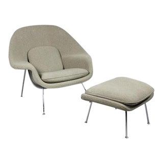 1940s Antique Eero Saarinen Womb Chair & Ottoman For Sale