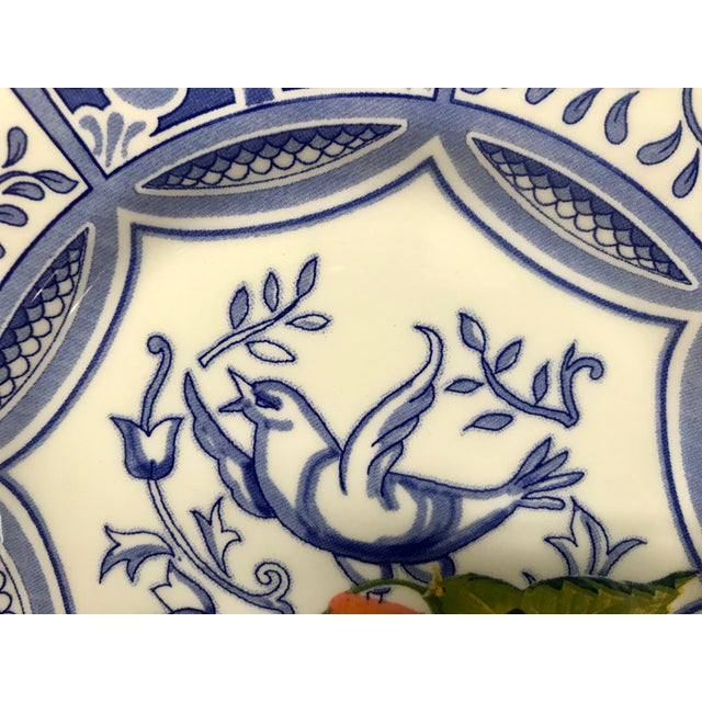 Blue Bird Salad Plates Made in Italy Blue/White With Fruit - Set of 4 For Sale In New York - Image 6 of 9