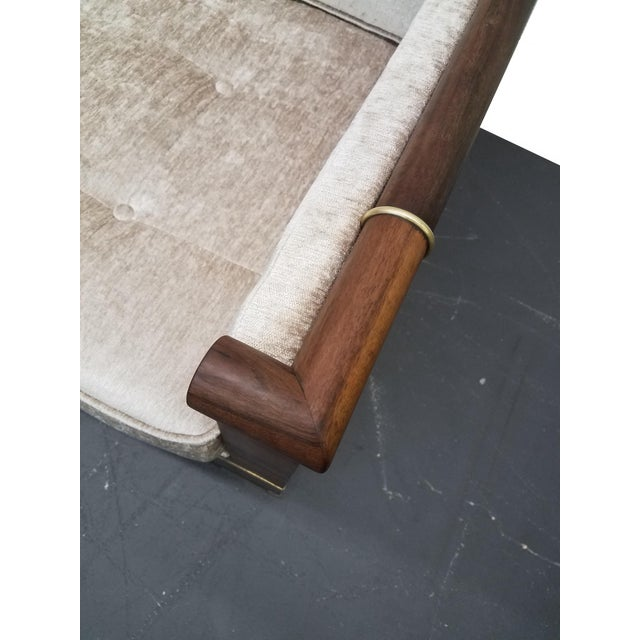 White Mid Century Rosewood Campaign Style Case Sofa with Brass Details For Sale - Image 8 of 8
