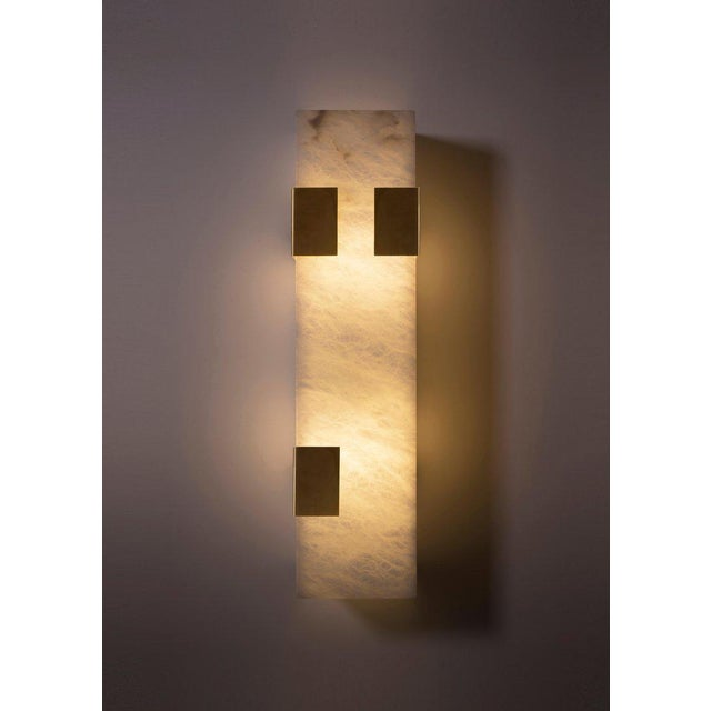 Modern Contemporary 003-3c Sconce in Brass and Alabaster by Orphan Work For Sale - Image 4 of 5