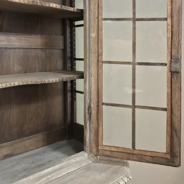 Gray 19th Century Country French Louis XVI Stripped Bookcase ~ Vitrine For Sale - Image 8 of 13