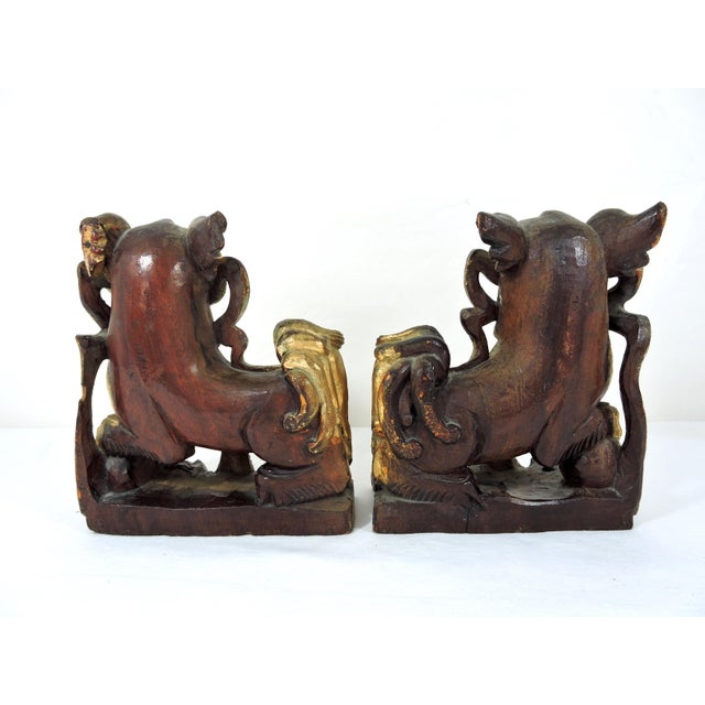 Antique Chinese Carved Gilt Wood Temple Foo Lions- a Pair (Foo Dogs) For Sale - Image 4 of 9