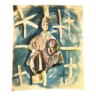 Mid-Century Mother and Child Blue and White Painting For Sale