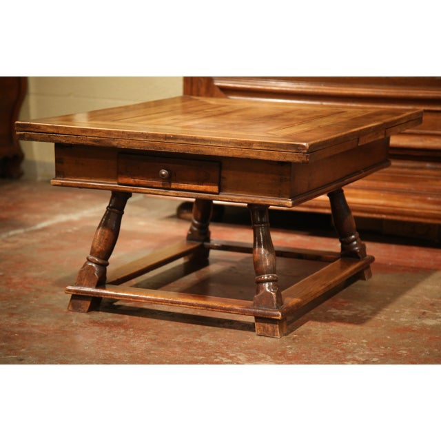 18th Century French Walnut Coffee Table with Drawers and Pull Out Leaves For Sale - Image 5 of 9