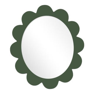 Fleur Home x Chairish Iris Oval Mirror in Duck Green, 37x32 For Sale