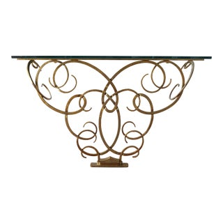 Raymond Subes Style Wrought Gilt Iron Glass Top Console For Sale