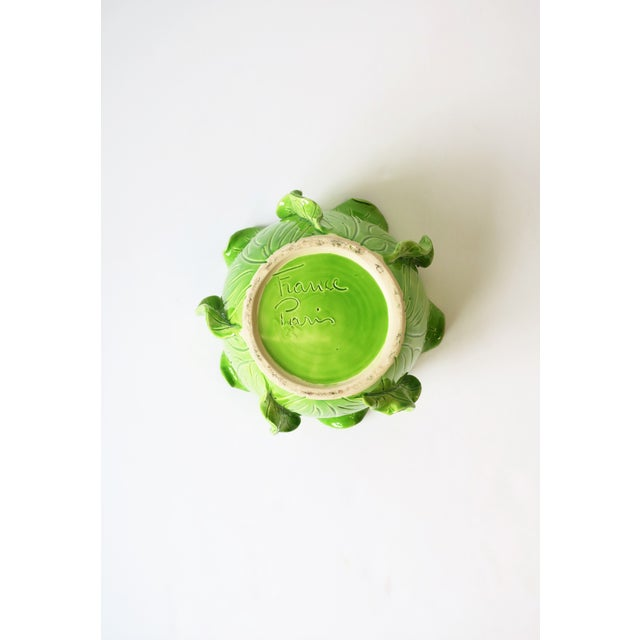French Green Lettuce or Cabbage Leaf Cachepot by Jean Roger, Paris, France For Sale - Image 12 of 13