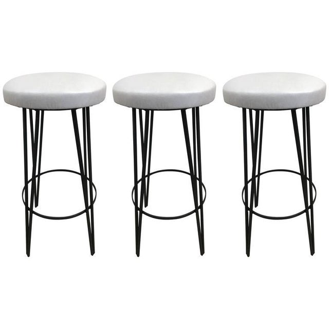 Three Vintage Wrought Iron Stools - Image 4 of 4