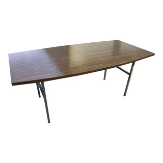 Mid-Century Modern Steel and Walnut Boat Shaped Desk Manner of George Nelson For Sale