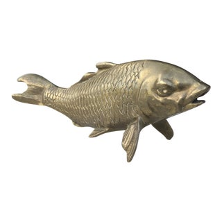 Vintage Mid-Century Solid Sand Cast Brass Scaled Fish Sculpture / Figurine For Sale