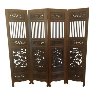 Solid Teak Hand Carved 4 Panel Screen