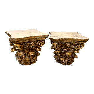 Italian 19th Century Carved Gilt Wood Capitals - a Pair For Sale