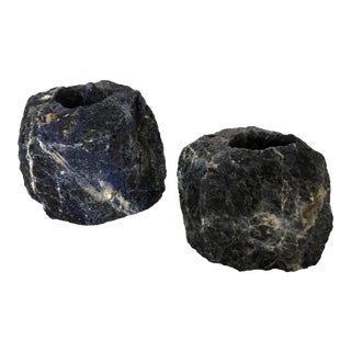 Sodalite Blue Stone Candleholders- A Pair