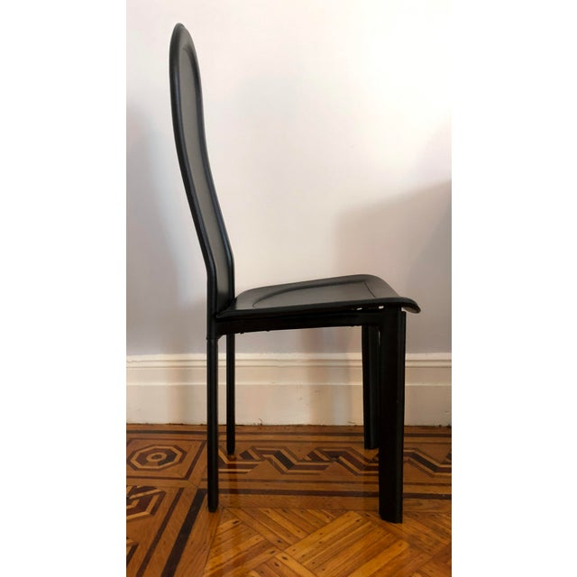Late 20th Century Modern Black Leather Artedi Chairs - Set of 4 For Sale - Image 5 of 11