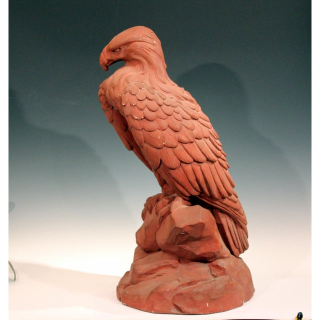 American American Golden Eagle Sculpture Large Painted Plaster Figure Signed For Sale - Image 3 of 11