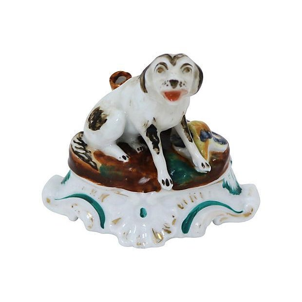 Early 19th-C. English Porcelain Dog Inkwell For Sale - Image 5 of 5