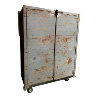Vintage Rolling Steel Industrial Cabinet For Sale