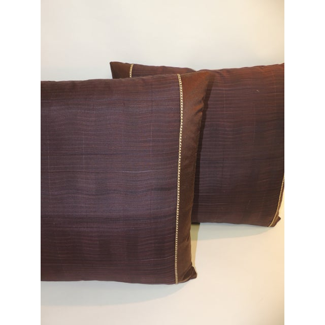 Pair of vintage brown and purple woven textile bolsters decorative pillows. Woven vintage decorative pillows handcrafted...