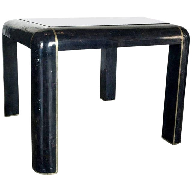 Tesselated Horn Small Dining Table by Maitland Smith For Sale