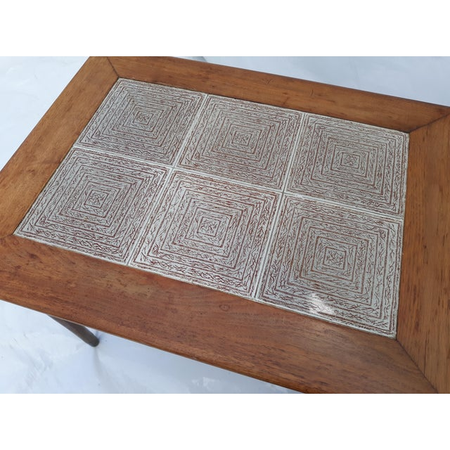 Danish Modern Mahogany and Tile Set of 3 Nesting Tables For Sale - Image 6 of 10